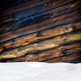 Snow drift on wood boards Royalty Free Stock Photos