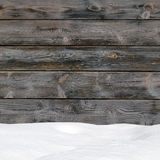 Snow drift on wood boards Stock Photos