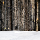 Snow drift on wood boards Royalty Free Stock Photography
