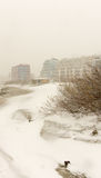 Snow drifts on the beach in Pomorie, Bulgaria Stock Photo