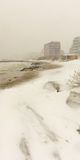 Snow drifts on the beach in Pomorie, Bulgaria Stock Photography