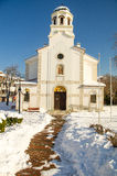 Snow drifts near the Church of the Nativity of the Blessed Virgin in Pomorie, Bulgaria Stock Photography