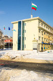 Snow drifts near the community building in Bulgarian Pomorie, winter Royalty Free Stock Image