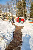 Snow drifts near the Downtown in Pomorie, Bulgaria, winter 2017 Stock Images