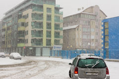 Snow drifts on the street in Pomorie, Bulgaria Royalty Free Stock Photo