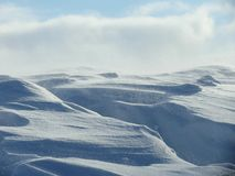 Snow drifts. Strong wind with snow drifts in the steppes namelo Altai Royalty Free Stock Photo