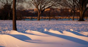 Snow drifts in sunset at park DC. As snowdrifts form from the powdery fresh snow from the Arctic vortex in Washington DC the sunset shadows provide soft beauty Stock Photo