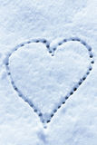 Snow with drown heart shape Royalty Free Stock Photo