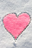 Snow with drown heart shape. Royalty Free Stock Photography