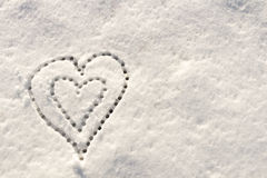 Snow with drown heart shape. Stock Image