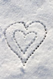 Snow with drown heart shape. Stock Photography
