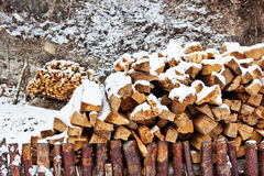 Snow on the dry firewoods Stock Image