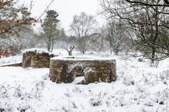 Snow - Dry Stone Wall Structures - Animal Shelters - North Yorkshire Stock Image