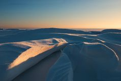 Snow dune-01. Snow dune at sunset Royalty Free Stock Images
