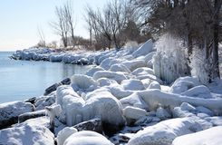 Snow dusted shore ice in sunshine Royalty Free Stock Photography