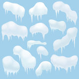 Snow elements, Snow caps, snowballs and snowdrifts for design and decoration. Christmas snow top. Royalty Free Stock Photography