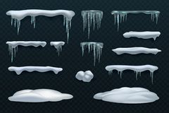 Snow elements. Snowball and snowdrift, icicles and snowcap borders. Isolated winter vector set