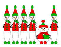 Snow Elf Diversity. Row of tall snow elves containing one short snow elf Royalty Free Stock Image