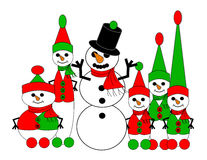 Snow Elves' Handiwork. A snowman built by five different sizes of snow elves Royalty Free Stock Photo