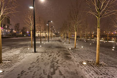 Snow on the embankment. Snow on the night embankment Royalty Free Stock Images
