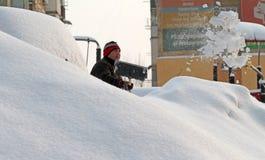 Snow - extrem vinter i Rumänien arkivfoto