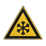 Snow. Extreme cold. Yellow triangle. Stock Image