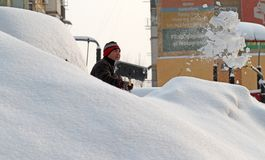 Snow - Extreme winter in Romania Stock Photo