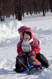 snow för barnrittsparkcykel Royaltyfri Foto