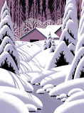 snow för ladugårdliggandeplats Arkivbild