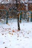 snow för målarfärg för höstkanfasolja Arkivfoto