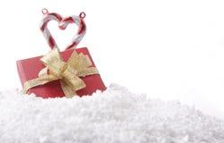 snow för prydnad för gåva för godisrottingjul Arkivbild