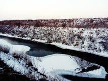 snow för sammansättningsnaturflod slappt Royaltyfri Bild