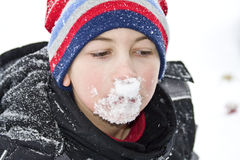 Snow on Face Stock Photos