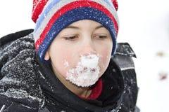 Snow on Face Stock Photos