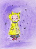 Snow. Fairy girl on a purple background Royalty Free Stock Photo