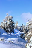 SNOW FAIRY TALE. Сastle ruins (castle gate) Royalty Free Stock Photography