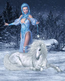 Snow Fairy and Unicorn Royalty Free Stock Photos