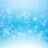 Snow fall with bokeh abstract blue background vector illustratio Royalty Free Stock Images