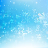 Snow fall with bokeh abstract blue background vector illustratio Royalty Free Stock Photos