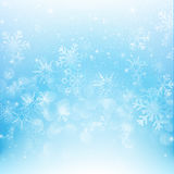 Snow fall with bokeh abstract blue background vector illustratio Royalty Free Stock Image