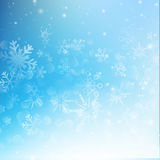 Snow fall with bokeh abstract blue background vector illustratio Stock Photo