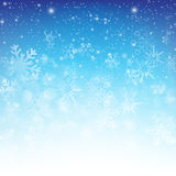 Snow fall with bokeh abstract blue background vector illustratio Stock Images