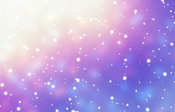 Snow fall on glare festive background. Xmas tree garland blurred texture. Yellow, magenta, blue glow backdrop. Stylish image for a variety of design Royalty Free Stock Photography