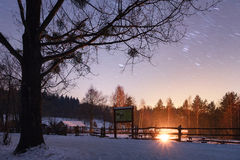 Snow fall over country field Royalty Free Stock Image