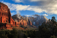 Snow fall on Sedona Red-rocks royalty free stock images