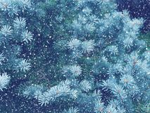 Snow fall in winter forest. Christmas magic royalty free stock images