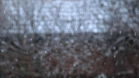 Snow falling against natural background slow motion footage stock video footage