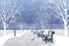Snow falling in city park royalty free illustration