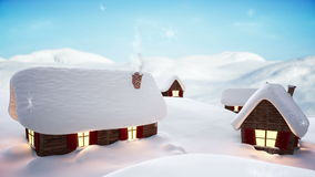 Snow falling on cute village