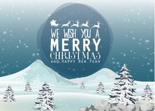 Snow falling down on mountain from winter christmas and pine tree Royalty Free Stock Photos